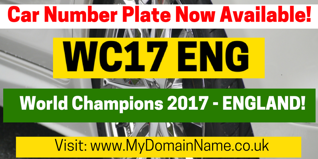 England's Under-20World Cup WinningNumber Plate